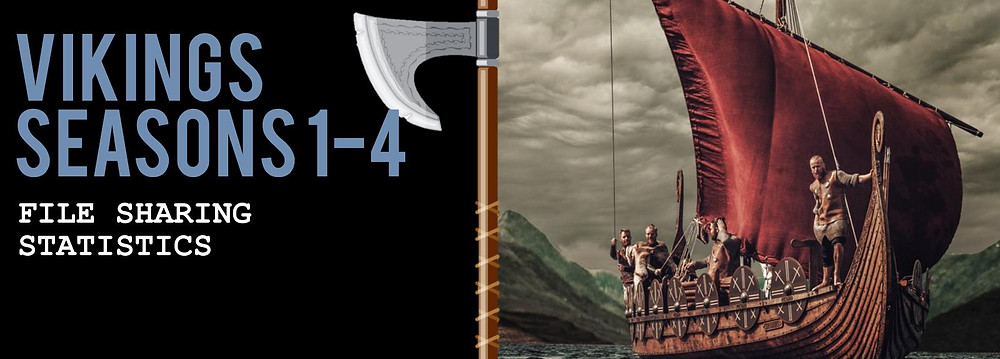 """Header Image of the TECXIPIO infographic. TV show viewership of """"Vikings"""". File sharing statistics of Seasons 1-4. The picture on the right shows a viking ship."""