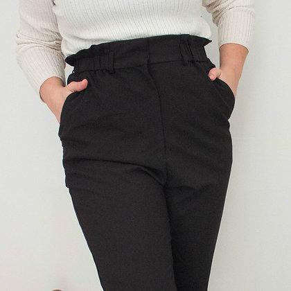 Črne hlače z visokim pasom