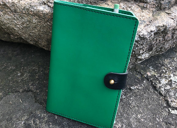 Field Notes Cover with 72 Page Field Note Book, Italian Green Leather Journal