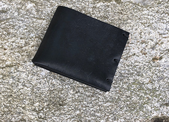 Folding Wallet, Card Holder, Black Harness Leather