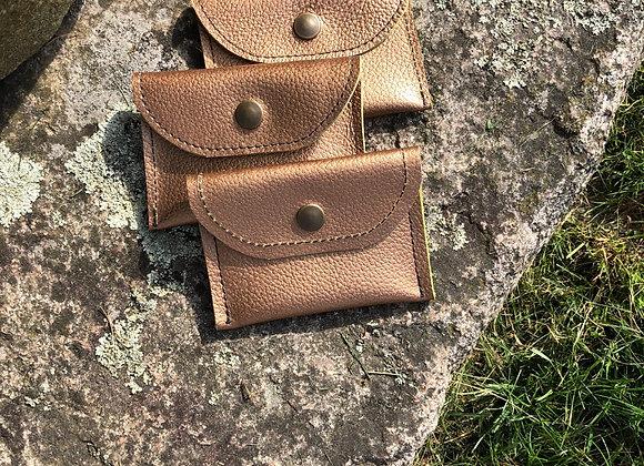 Card Holder, Change Purse, Gold Leather Credit Card Holder