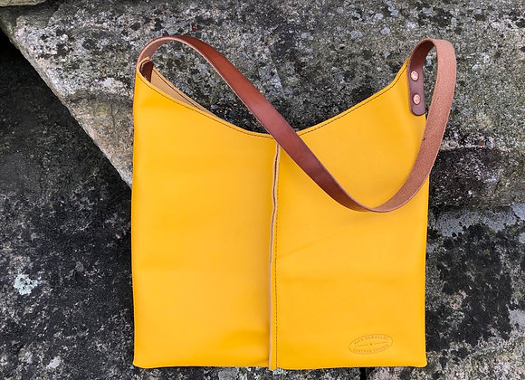 Wedge Bag, Leather Tote, Marigold Leather