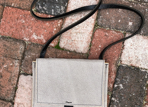 Small Crossbody Bag, Gray and Marigold Yellow Leather