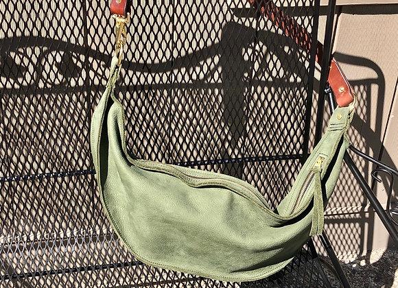 Hobo Bag, Avocado Green Suede