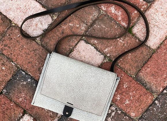 Small Crossbody Bag, Spotted Gray/Aqua Leather