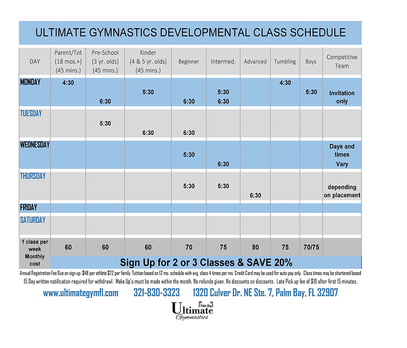 20-08-01 ULTIMATE Palm Bay CLASS SCHEDUL