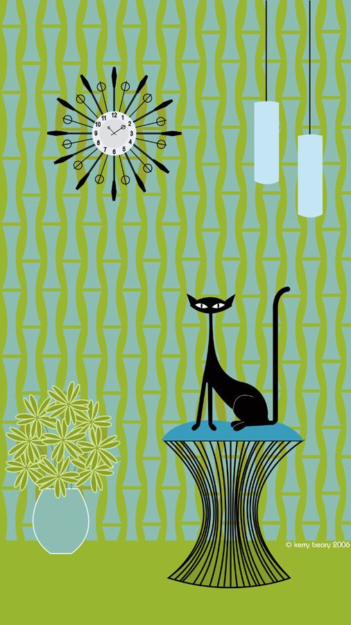 Kerry Beary black cat mid-century retro art