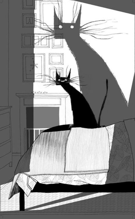 Black cat and its shadow (by Oriol Malet)
