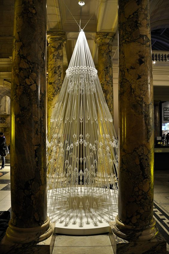 Christmas Tree made of elastic cord, London's Victoria and Albert Museum