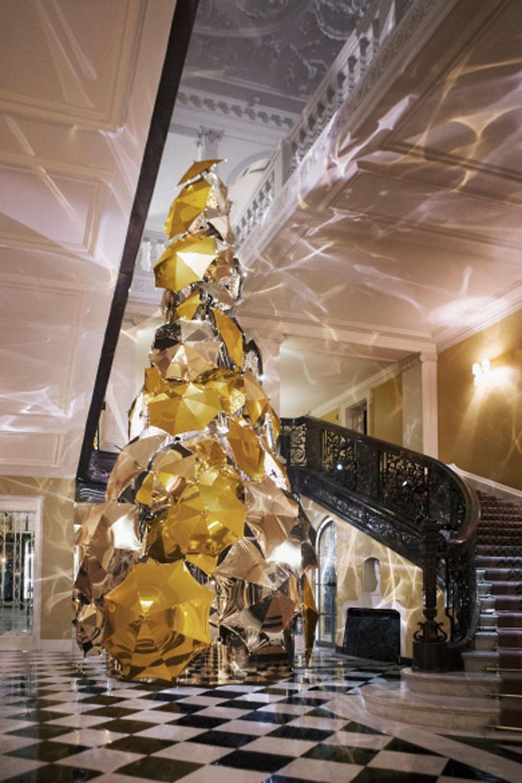 Christopher Bailey's Chrismas installation tree at Claridge Hotel