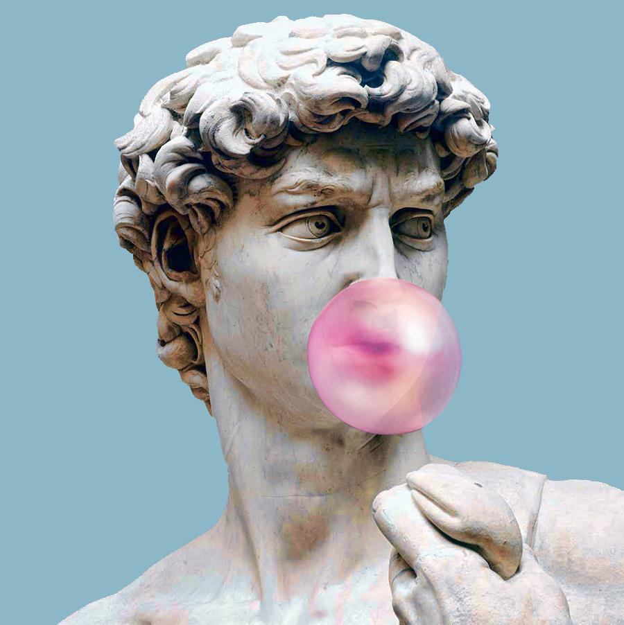 Pink bubblegum art