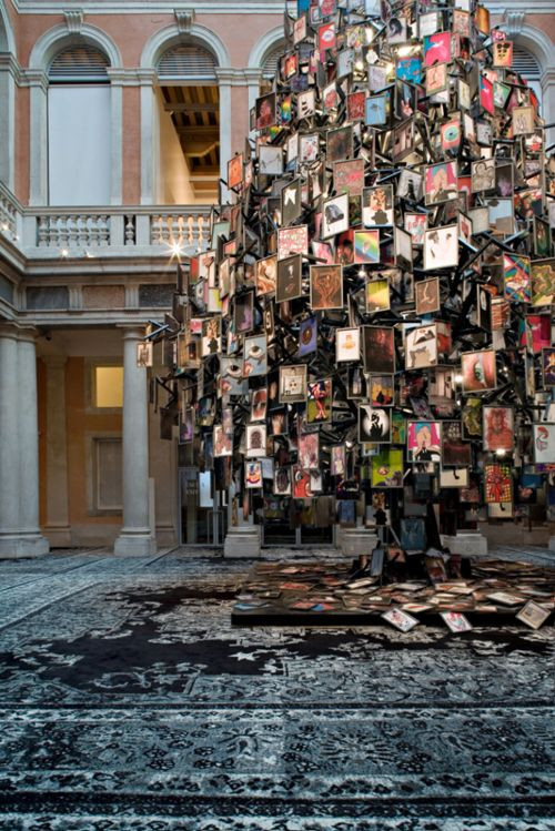 """Urs Fischer's """"Jet Set Lady"""",a huge installation comprised of iron, wood, 24 neon lights and 2000framed drawings!!!"""