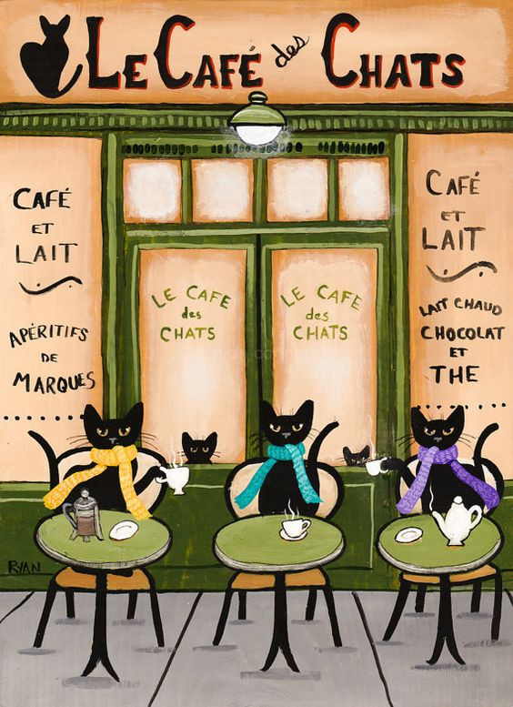 The Cats Parisian Coffee Cafe Original Folk Art by KilkennycatArt
