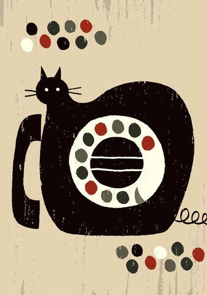 Japanese phone cat illustration