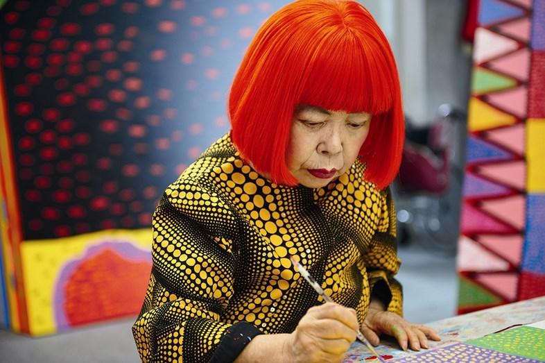 Yayoi Kusama in studio