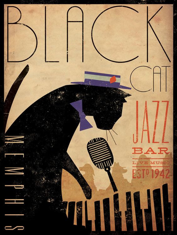 Black Cat Piano Jazz bar Graphic Illustation by Stephen Fowler