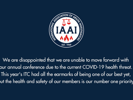IAAI International Training Conference cancelled