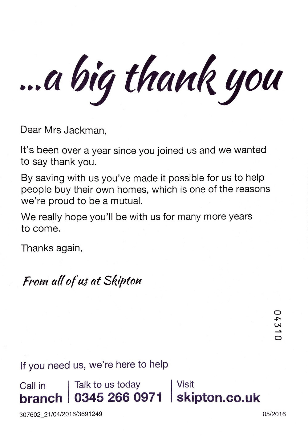 Thank you note from Skipton