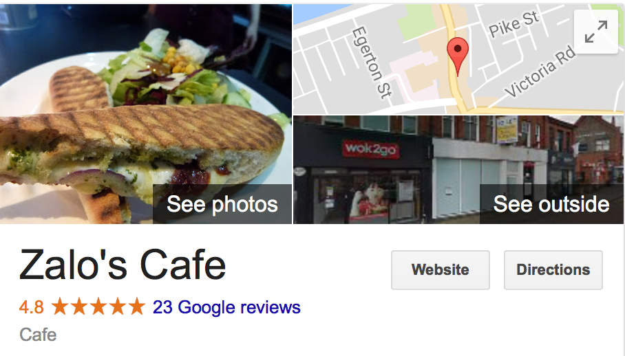Example Google my Business page