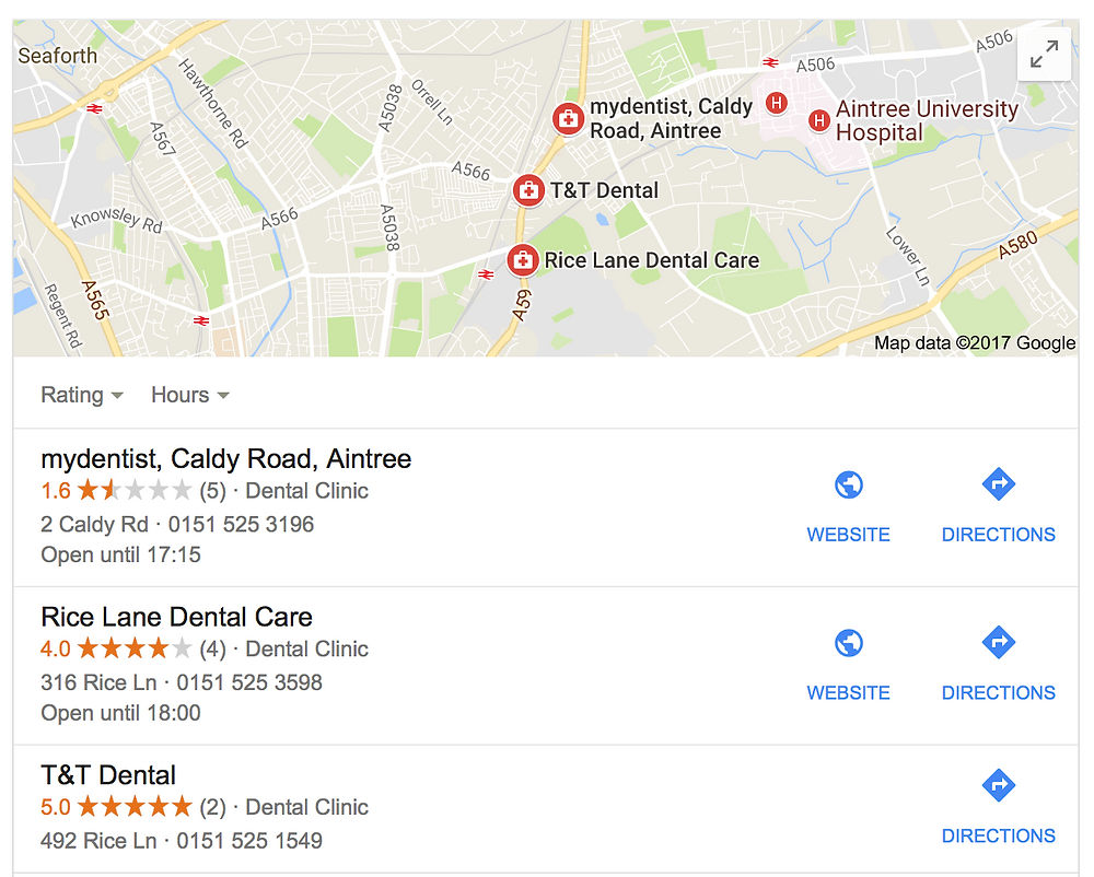 Google local map listings
