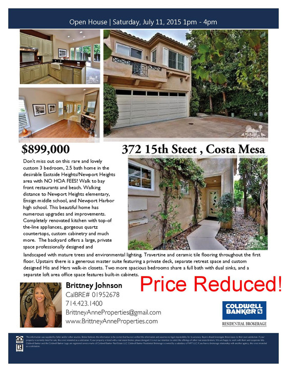 Open House - Saturday, July 11, 2015