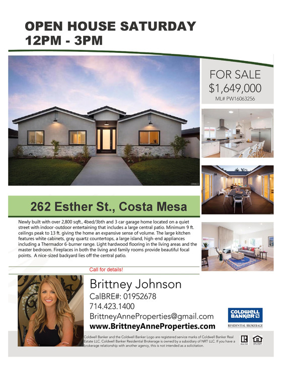 Open House:  Saturday, April 16th from 12PM - 3PM