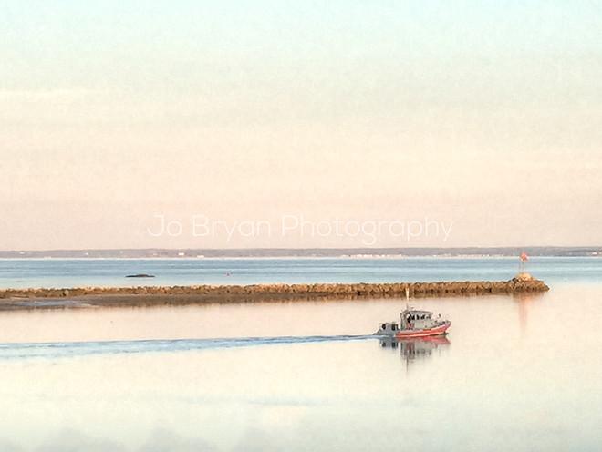 single boat sunset long island sound jo bryan photography wall art