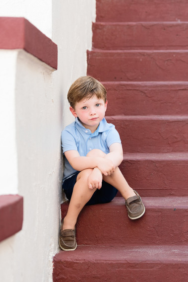 jo bryan photography family photo session outdoors boy child stairs playland steps blue striped shirt brown shoes outdoor rye new york westchester photographer