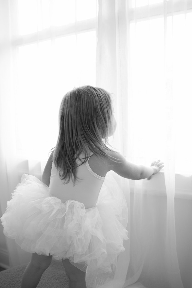 Rye NY New York Jo Bryan JoBryan photo photography solo young girl studio natural light looking out of window tutu black and white