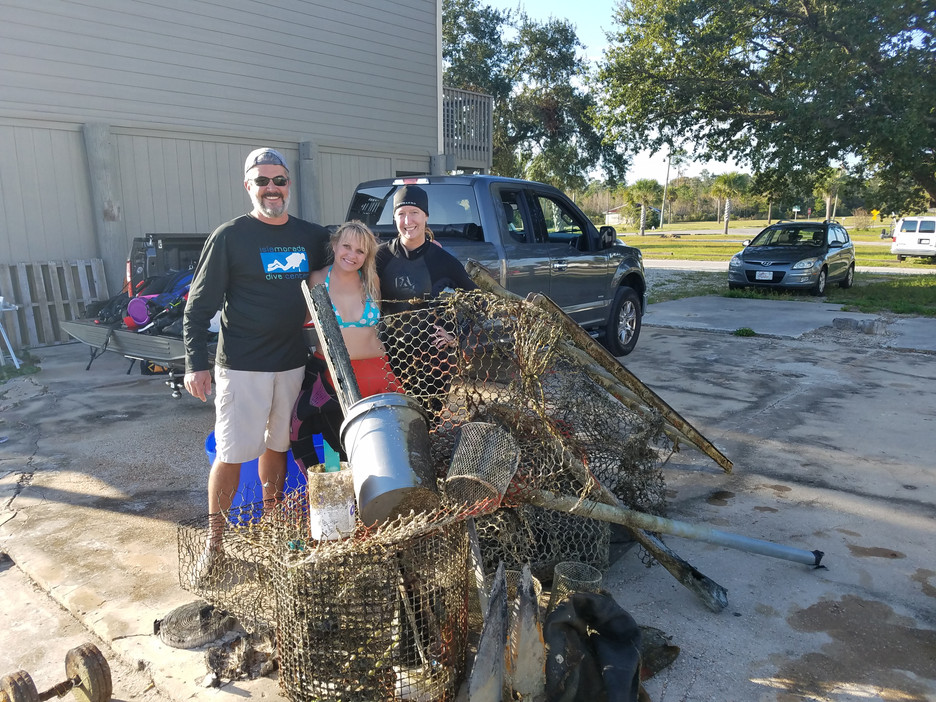 MARINE DEBRIS REMOVAL AT SOUTHWIND MARINA NETS GHOST TRAPS AND PLASTICS