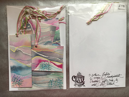Northern Lights' unique hand-painted gift tags - Liz Pollard