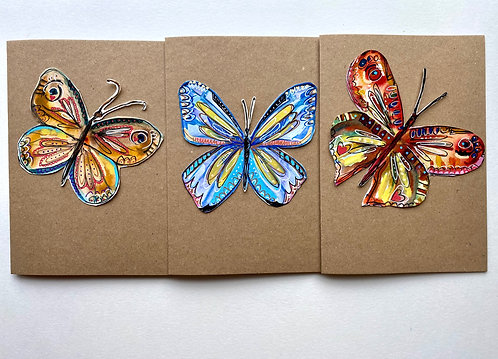 3 pack original artwork butterfly cards - Rebecca Carr