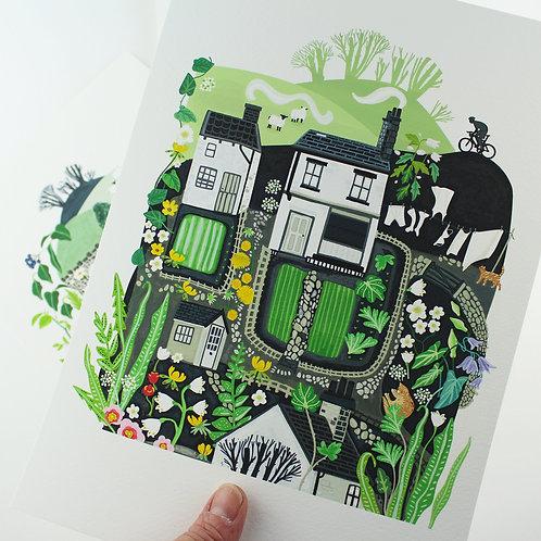 Little Yorkshire Houses Giclee Print - Sarah Watkins