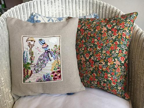 Hand-made cushion with vintage embroidery panel - Liz Pollard