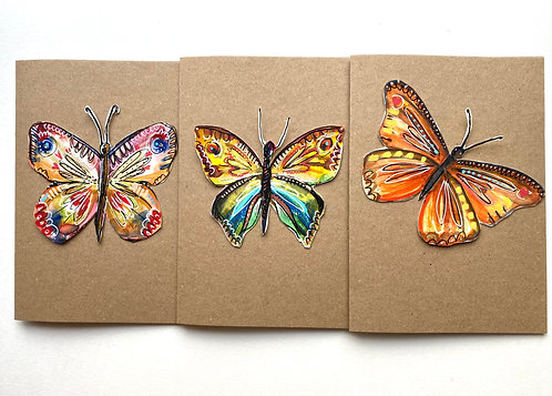 3 pack original artwork butterfly cards - Rebecca Carr