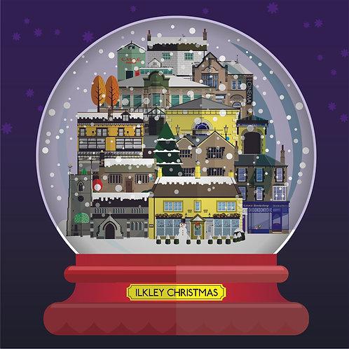 Ilkley Christmas Snow Globe - 10 card pack- Richard Locket