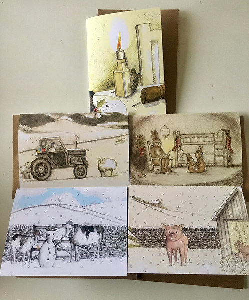 Set of 5 Christmas cards - Rebecca Carr