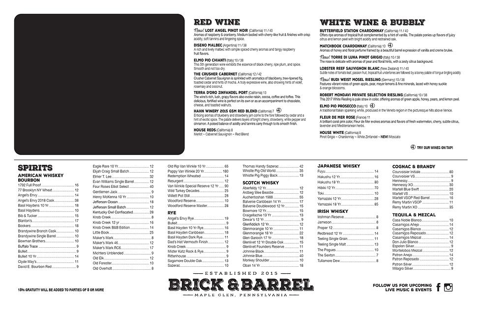 Wine and drinks menu