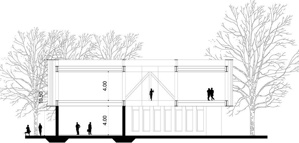 why associati architettura design landscape, centro civico sezione
