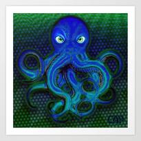 Mister Moody Blue Octopus Art Print