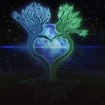 Moonlit Dancing Trees