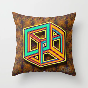 DIFORCE #3 Impossible Triangle Psychedelic Optical Illusion Throw Pillow