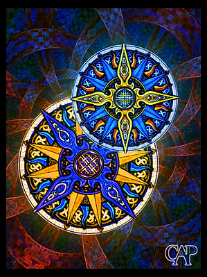 Abstract Tribal Celtic Moon & Sun