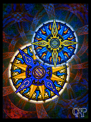 Abstract Tribal Celtic Moon & Sun