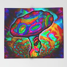 Shroomery #1 Psychedelic Colorful Mushroom Trippy Character Design Throw Blanket