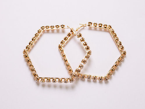 Stoned Octagon Earring