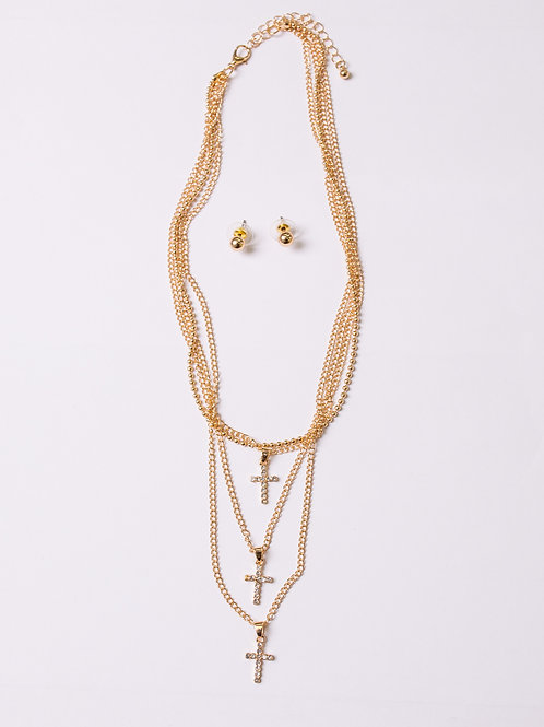 Triple Set Cross necklace with Studs Earrings