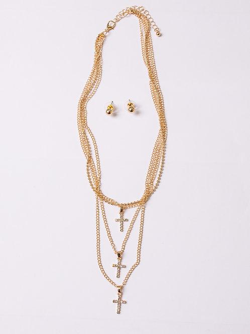 Triple Set Cross necklace with Studs Earrings