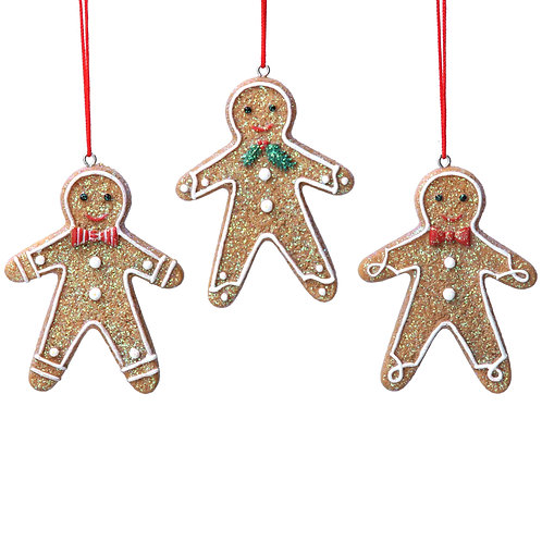 Resin Gingerbread Man with Bow Tie Decoration (3xAssorted)