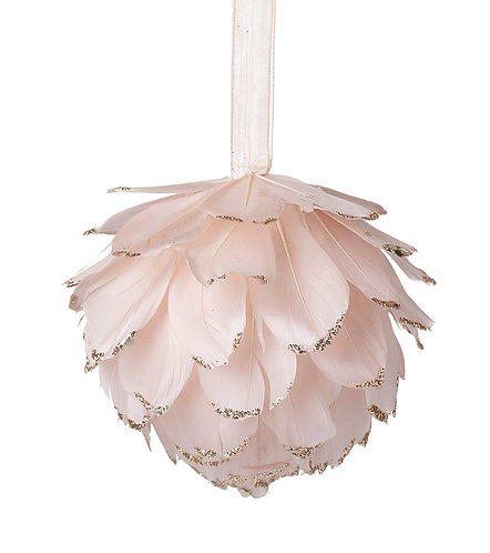 Pink/Gold Feather Ball with Glitter